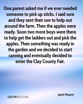 One parent asked me if we ever needed someone to pick up sticks. I said sure and they sent their son to help out around the farm. Then the apples were ready. Soon two more boys were there to help get the ladders out and pick the apples. Then something was ready in the garden and we decided to start canning and eventually decided to enter the Clay County Fair.