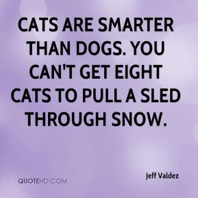 Cats are smarter than dogs. You can't get eight cats to pull a sled through snow.