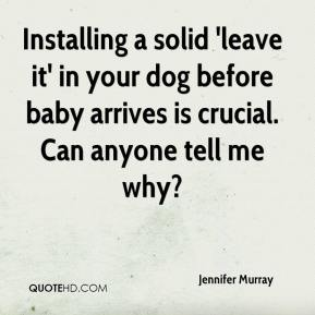 Jennifer Murray  - Installing a solid 'leave it' in your dog before baby arrives is crucial. Can anyone tell me why?