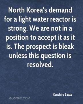 Kenchiro Sasae  - North Korea's demand for a light water reactor is strong. We are not in a position to accept it as it is. The prospect is bleak unless this question is resolved.