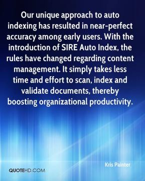 Our unique approach to auto indexing has resulted in near-perfect accuracy among early users. With the introduction of SIRE Auto Index, the rules have changed regarding content management. It simply takes less time and effort to scan, index and validate documents, thereby boosting organizational productivity.