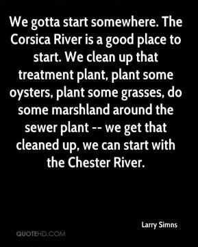 Larry Simns  - We gotta start somewhere. The Corsica River is a good place to start. We clean up that treatment plant, plant some oysters, plant some grasses, do some marshland around the sewer plant -- we get that cleaned up, we can start with the Chester River.