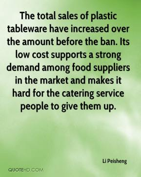 Li Peisheng  - The total sales of plastic tableware have increased over the amount before the ban. Its low cost supports a strong demand among food suppliers in the market and makes it hard for the catering service people to give them up.