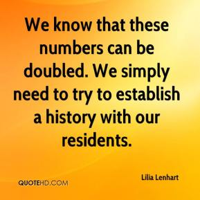 Lilia Lenhart  - We know that these numbers can be doubled. We simply need to try to establish a history with our residents.