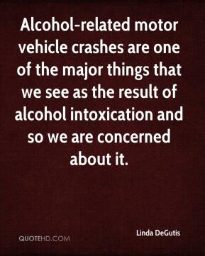 Linda DeGutis  - Alcohol-related motor vehicle crashes are one of the major things that we see as the result of alcohol intoxication and so we are concerned about it.