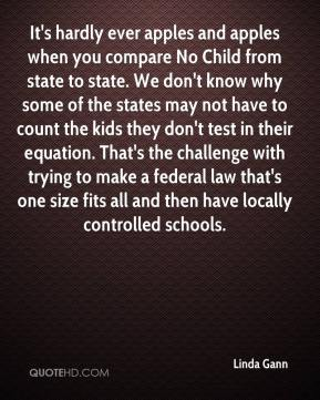 Linda Gann  - It's hardly ever apples and apples when you compare No Child from state to state. We don't know why some of the states may not have to count the kids they don't test in their equation. That's the challenge with trying to make a federal law that's one size fits all and then have locally controlled schools.