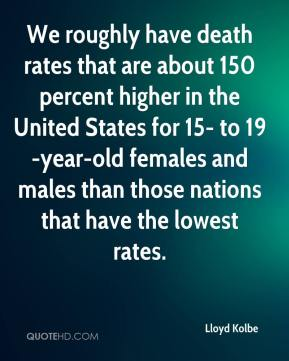 We roughly have death rates that are about 150 percent higher in the United States for 15- to 19-year-old females and males than those nations that have the lowest rates.