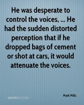 He was desperate to control the voices, ... He had the sudden distorted perception that if he dropped bags of cement or shot at cars, it would attenuate the voices.