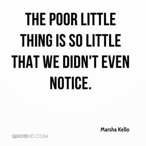 Marsha Kello  - The poor little thing is so little that we didn't even notice.