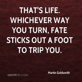 That's life. Whichever way you turn, fate sticks out a foot to trip you.