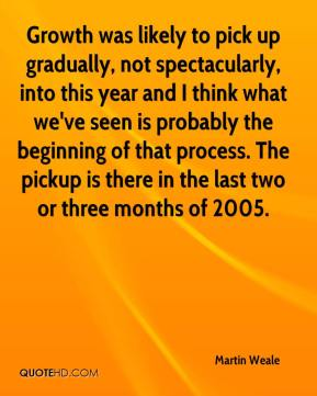 Martin Weale  - Growth was likely to pick up gradually, not spectacularly, into this year and I think what we've seen is probably the beginning of that process. The pickup is there in the last two or three months of 2005.