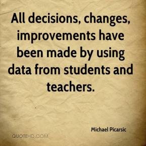 Michael Picarsic  - All decisions, changes, improvements have been made by using data from students and teachers.