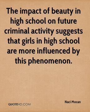 Naci Mocan  - The impact of beauty in high school on future criminal activity suggests that girls in high school are more influenced by this phenomenon.