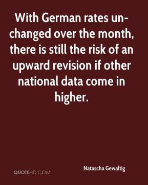 Natascha Gewaltig  - With German rates un-changed over the month, there is still the risk of an upward revision if other national data come in higher.