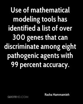 Rasha Hammamieh  - Use of mathematical modeling tools has identified a list of over 300 genes that can discriminate among eight pathogenic agents with 99 percent accuracy.
