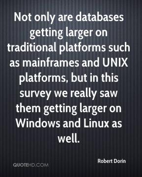 Robert Dorin  - Not only are databases getting larger on traditional platforms such as mainframes and UNIX platforms, but in this survey we really saw them getting larger on Windows and Linux as well.