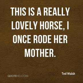 Ted Walsh  - This is a really lovely horse, I once rode her mother.
