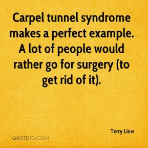 Terry Liew  - Carpel tunnel syndrome makes a perfect example. A lot of people would rather go for surgery (to get rid of it).