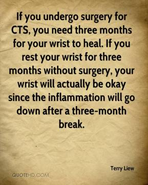 Terry Liew  - If you undergo surgery for CTS, you need three months for your wrist to heal. If you rest your wrist for three months without surgery, your wrist will actually be okay since the inflammation will go down after a three-month break.