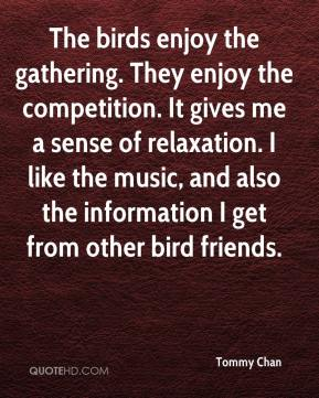 Tommy Chan  - The birds enjoy the gathering. They enjoy the competition. It gives me a sense of relaxation. I like the music, and also the information I get from other bird friends.