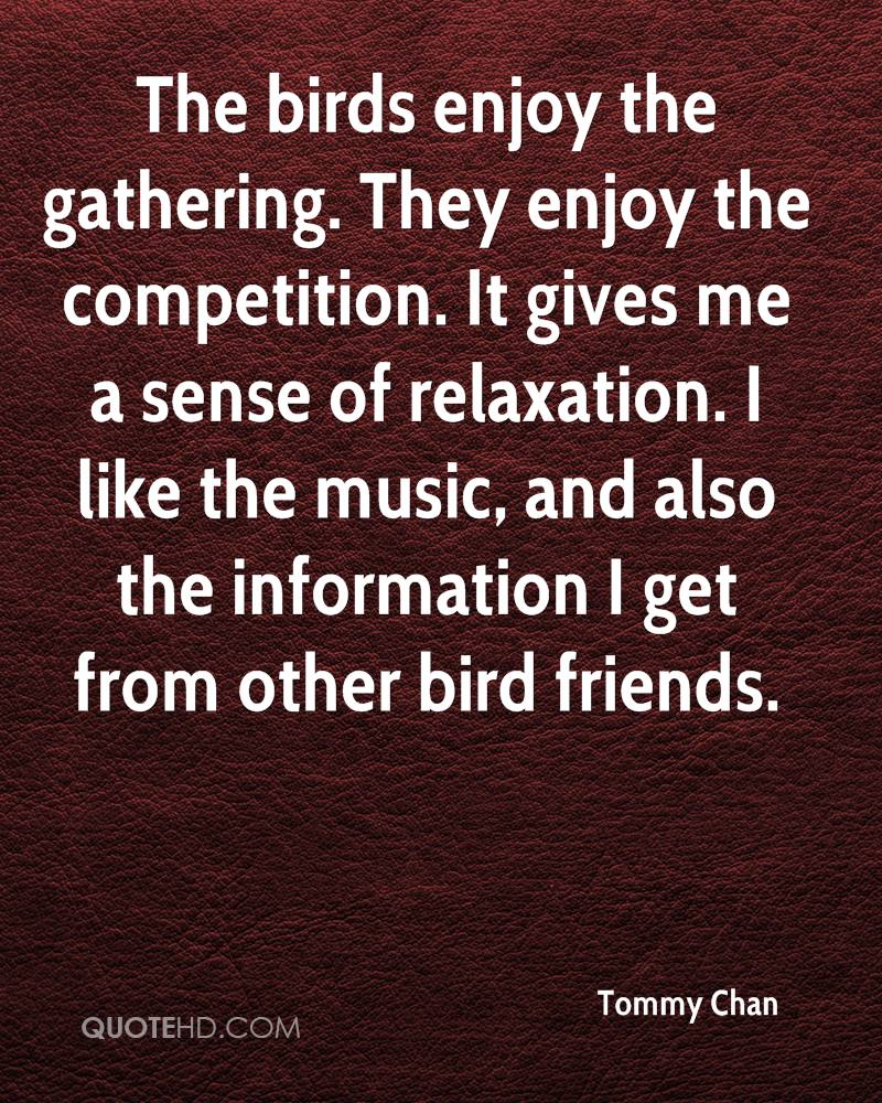 The birds enjoy the gathering. They enjoy the competition. It gives me a sense of relaxation. I like the music, and also the information I get from other bird friends.