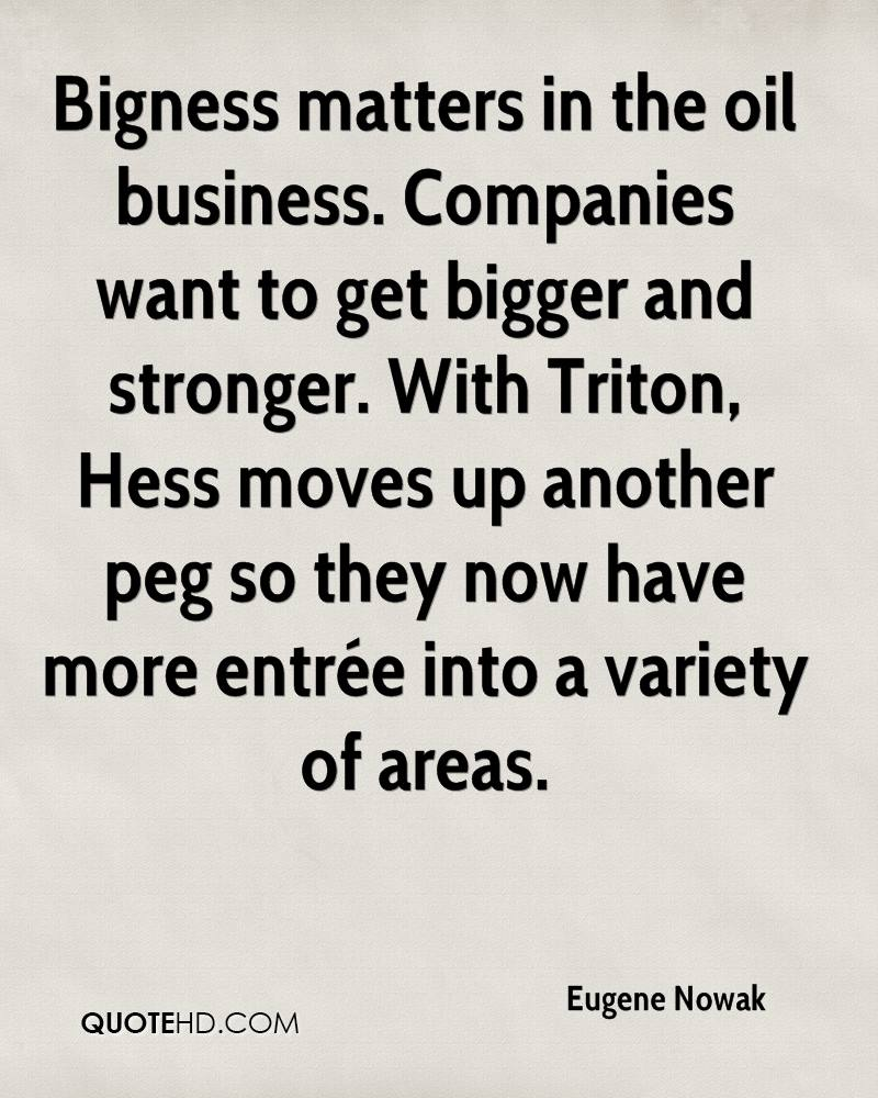 Bigness matters in the oil business. Companies want to get bigger and stronger. With Triton, Hess moves up another peg so they now have more entrée into a variety of areas.