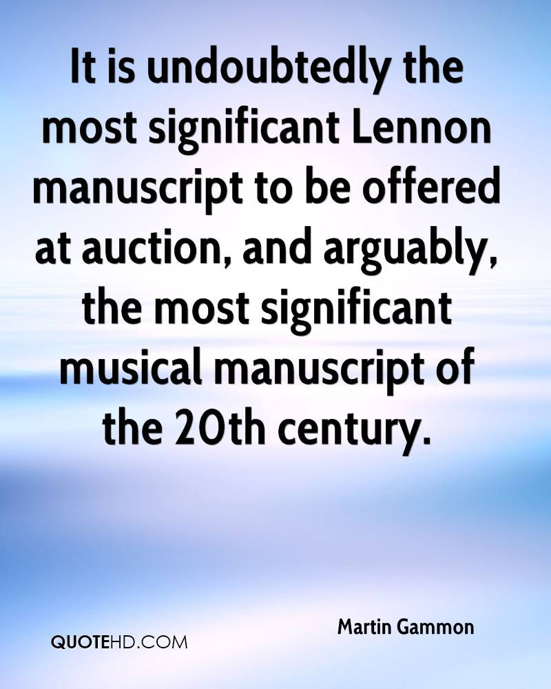 It is undoubtedly the most significant Lennon manuscript to be offered at auction, and arguably, the most significant musical manuscript of the 20th century.