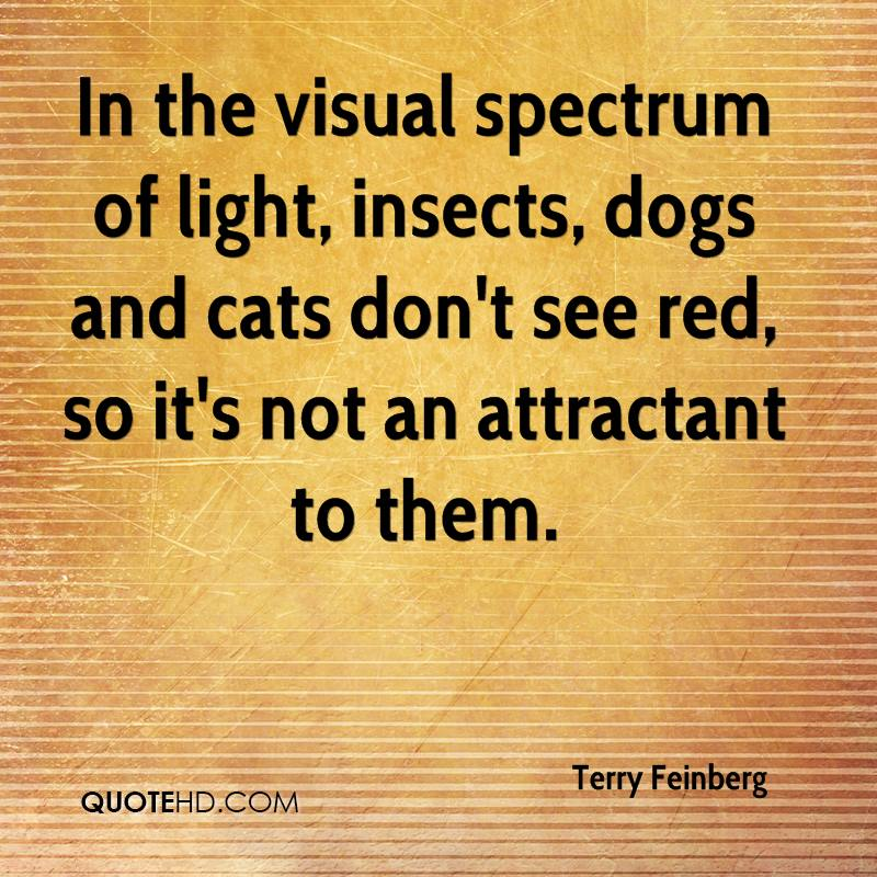 In the visual spectrum of light, insects, dogs and cats don't see red, so it's not an attractant to them.