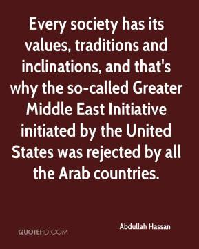 Every society has its values, traditions and inclinations, and that's why the so-called Greater Middle East Initiative initiated by the United States was rejected by all the Arab countries.