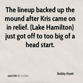 Bobby Hyatt - The lineup backed up the mound after Kris came on in relief. (Lake Hamilton) just got off to too big of a head start.