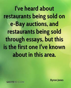 I've heard about restaurants being sold on e-Bay auctions, and restaurants being sold through essays, but this is the first one I've known about in this area.