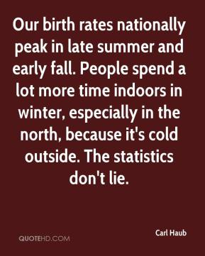 Carl Haub - Our birth rates nationally peak in late summer and early fall. People spend a lot more time indoors in winter, especially in the north, because it's cold outside. The statistics don't lie.