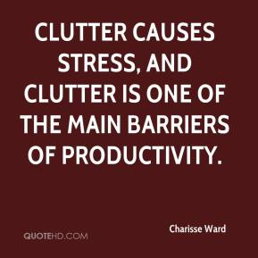 Charisse Ward - Clutter causes stress, and clutter is one of the main barriers of productivity.