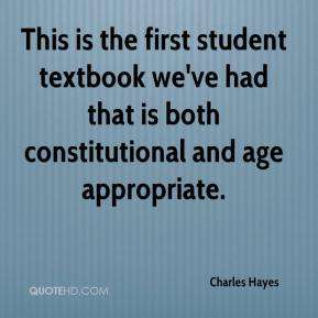 Charles Hayes - This is the first student textbook we've had that is both constitutional and age appropriate.