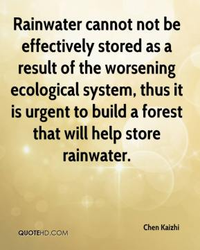 Chen Kaizhi - Rainwater cannot not be effectively stored as a result of the worsening ecological system, thus it is urgent to build a forest that will help store rainwater.