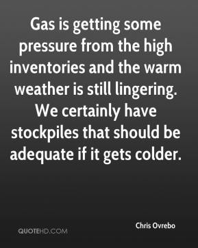 Chris Ovrebo - Gas is getting some pressure from the high inventories and the warm weather is still lingering. We certainly have stockpiles that should be adequate if it gets colder.
