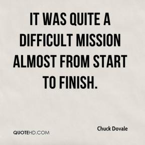 Chuck Dovale - It was quite a difficult mission almost from start to finish.