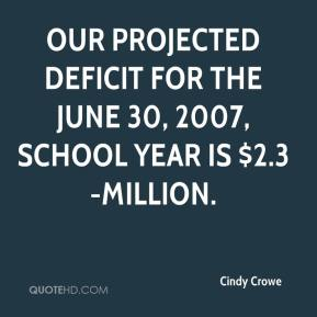 Cindy Crowe - Our projected deficit for the June 30, 2007, school year is $2.3-million.