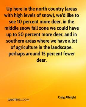 Craig Albright - Up here in the north country (areas with high levels of snow), we'd like to see 10 percent more deer, in the middle snow fall zone we could have up to 50 percent more deer, and in southern areas where we have a lot of agriculture in the landscape, perhaps around 15 percent fewer deer.