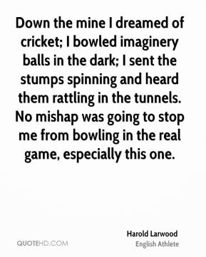Harold Larwood - Down the mine I dreamed of cricket; I bowled imaginery balls in the dark; I sent the stumps spinning and heard them rattling in the tunnels. No mishap was going to stop me from bowling in the real game, especially this one.