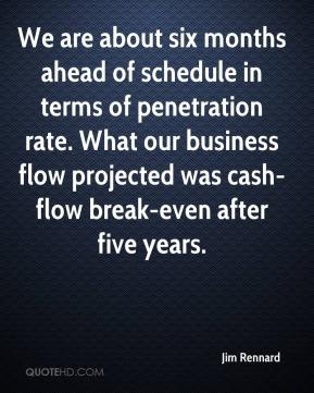 Jim Rennard  - We are about six months ahead of schedule in terms of penetration rate. What our business flow projected was cash-flow break-even after five years.
