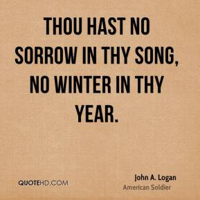 Thou hast no sorrow in thy song, no winter in thy year.