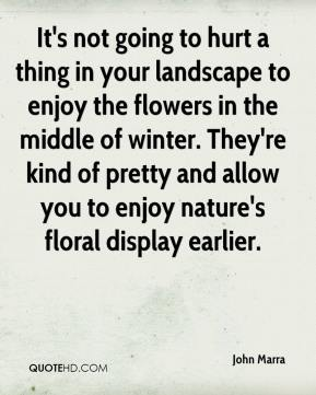 John Marra  - It's not going to hurt a thing in your landscape to enjoy the flowers in the middle of winter. They're kind of pretty and allow you to enjoy nature's floral display earlier.