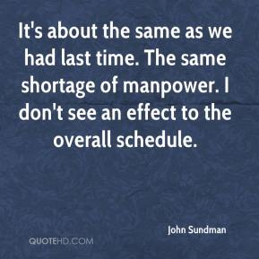 John Sundman  - It's about the same as we had last time. The same shortage of manpower. I don't see an effect to the overall schedule.