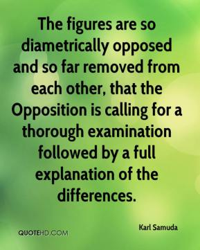 Karl Samuda  - The figures are so diametrically opposed and so far removed from each other, that the Opposition is calling for a thorough examination followed by a full explanation of the differences.