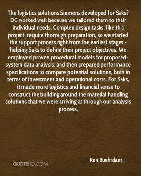 Ken Ruehrdanz  - The logistics solutions Siemens developed for Saks? DC worked well because we tailored them to their individual needs. Complex design tasks, like this project, require thorough preparation, so we started the support process right from the earliest stages - helping Saks to define their project objectives. We employed proven procedural models for proposed-system data analysis, and then prepared performance specifications to compare potential solutions, both in terms of investment and operational costs. For Saks, it made more logistics and financial sense to construct the building around the material handling solutions that we were arriving at through our analysis process.
