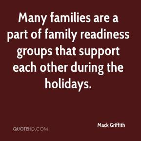 Many families are a part of family readiness groups that support each other during the holidays.