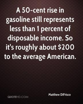 Matthew DiFrisco  - A 50-cent rise in gasoline still represents less than 1 percent of disposable income. So it's roughly about $200 to the average American.