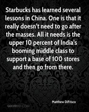 Matthew DiFrisco  - Starbucks has learned several lessons in China. One is that it really doesn't need to go after the masses. All it needs is the upper 10 percent of India's booming middle class to support a base of 100 stores and then go from there.