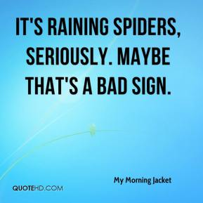 My Morning Jacket  - It's raining spiders, seriously. Maybe that's a bad sign.
